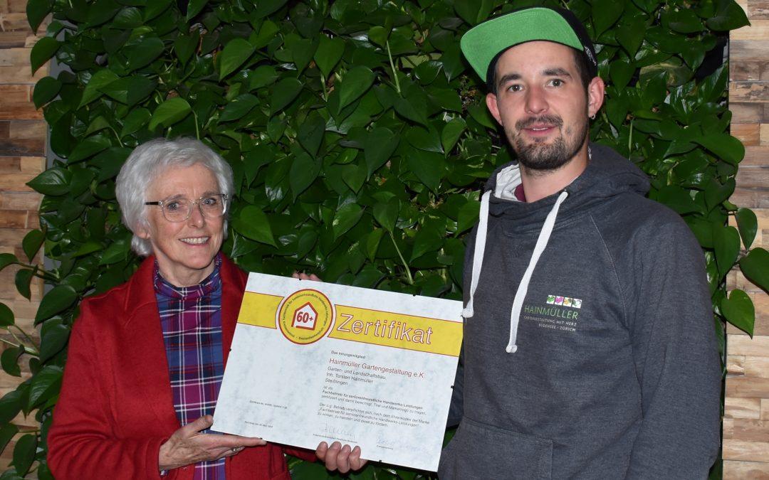 Zertifikat für Hainmüller Gartengestaltung